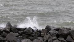 Water hits rocks IJsselmeer Stock Footage
