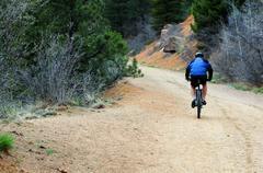 Bike ride. bike ride on the mountain trail. Stock Photos