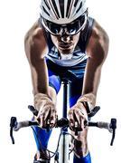 Man triathlon iron man athlete cyclist bicycling Kuvituskuvat