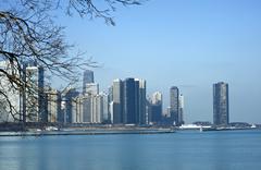 chicago illinois cityscape and lake michigan. - stock photo
