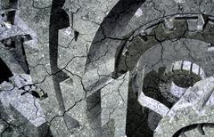 Cracked machine. abstract technology illustration Stock Illustration