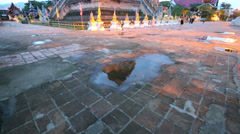 Stock Video Footage of Twilight scene of Wat Chedi Luang, Thai temple