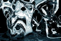 icy abstract - abstract dark blue icy shapes - stock illustration