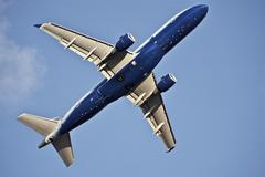 airliner take-off. commercial airliner. - stock photo