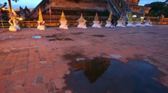 Twilight scene of Wat Chedi Luang, Thai temple Stock Footage