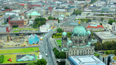 Top view on the Berlin cathedral and Unter- den- Liden Street Stock Footage