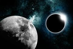 abstract star eclipse with moon - stock illustration