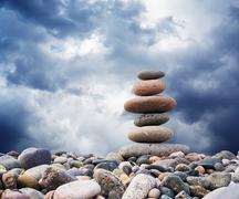 zen pebbles sustainable growth - stock photo