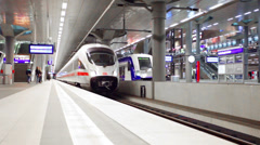 high-speed train goes from a platform at the Central station in Berlin, Germany - stock footage