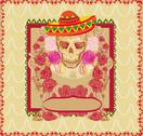 Skull and flowers day of the dead Stock Illustration