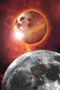 Nibiru - planet x and our moon abstract Stock Illustration