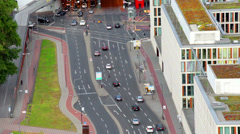 Heavy traffic of cars on the city street, the top view Stock Footage