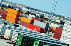 containers - shipping and logistics theme - stock photo