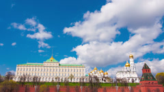 View of the Kremlin in Moscow in the sunny summer day,timelapse Stock Footage