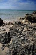 rocky shore - rocky beach of bahia honda state park - stock photo