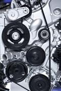 aluminium car engine closeup. car engine vertical photography - stock photo