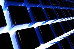 3d dark blocks. dark blue 3d blocks and light between. - stock illustration