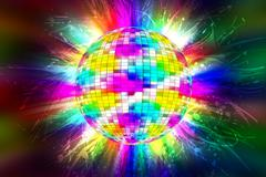 disco party ball with colorful flames-lights - stock illustration