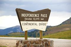 Independence pass wood sign. Stock Photos