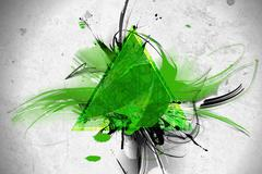 Green triangle abstract illustration. Stock Illustration