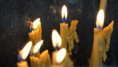 Burning Candles in Dark, Candlelights in Orthodox Church, Monastery in Night - stock footage
