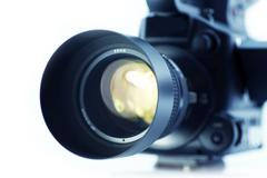 video camera lens  - video optics - stock photo