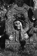 tombstone wit skeleton - stock photo