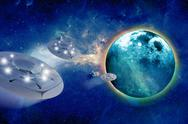 Stock Illustration of aliens spacecrafts and aliens home planet