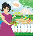 Fat girl eats a salad Stock Illustration