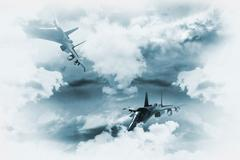 Jets background. two fighter jets in mission Stock Illustration