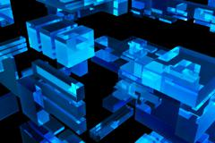 blue 3d blocks - dark background. - stock illustration