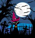 Halloween cat on cemetery Stock Illustration