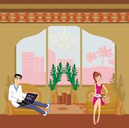 Stock Illustration of couple relaxing at home