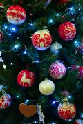 Christmas background of decorated fir Stock Photos