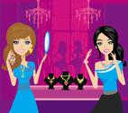 Girls at a jewelry store Stock Illustration