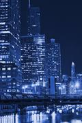 Stock Photo of chicago night in blue. chicago, illinois, usa.