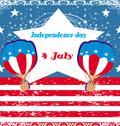 Hot air balloons of 4 of july Stock Illustration