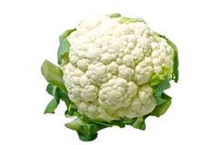 cauliflower isolated on solid white background. - stock photo