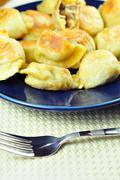 Polish regional food - polish pierogi on the plate Stock Photos