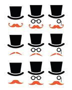 Stock Illustration of Ginger mustache or moustache with hat and glasses icons set