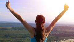 Stock Video Footage of Young Active Successful Woman Raising Hands Nature Success