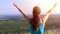 Healthy Young Fitness Woman Exercise Nature Summer Landscape Stock Footage