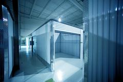Open storage unit. climate controlled modern storage Stock Photos