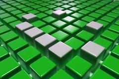 3d green blocks with silver one upper Stock Illustration