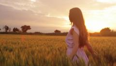 Elegant Country Female Beauty Vintage Dress Walking Field Stock Footage