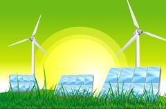 Green power - green energy illustration. Piirros