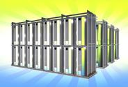 Stock Illustration of virtual servers on large racks. hosting theme.