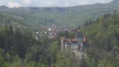 Dracula Castle National Ancient Monument in Romania, Visit Vlad Impaler Landmark Stock Footage