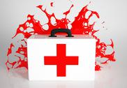 Stock Illustration of bloody aid kit - first aid kit and blood splash
