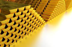 Piles of gold bars on glassy silver floor. Stock Illustration